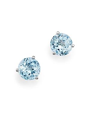 Aquamarine Stud Earrings in 14K White Gold - 100% Exclusive