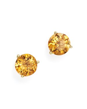 Citrine Stud Earrings in 14K Yellow Gold - 100% Exclusive