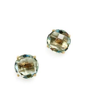 Green Amethyst Briolette Stud Earrings in 14K Yellow Gold - 100% Exclusive