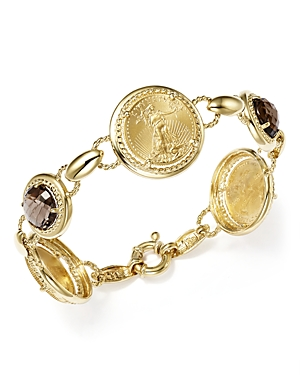 Smoky Quartz Coin Bracelet in 14K Yellow Gold - 100% Exclusive