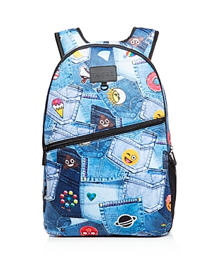 Terez Girls' Patch Pocket Emoji Print Neoprene Backpack