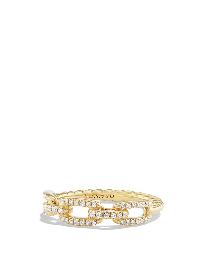 David Yurman - Stax Single Row Pavé Chain Link Ring with Diamonds in 18K Gold
