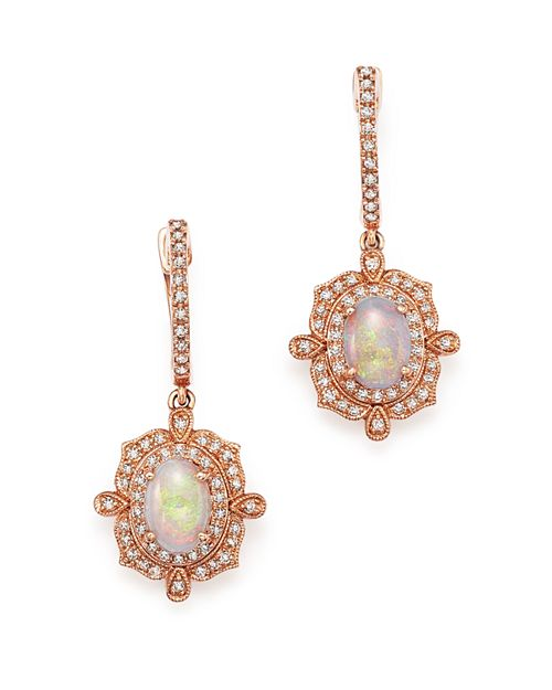 Bloomingdale's - Opal and Diamond Antique Inspired Drop Earrings in 14K Rose Gold - 100% Exclusive