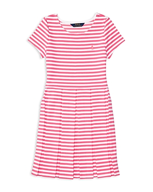 Ralph Lauren Childrenswear Girls' Striped Pleated Ponte Knit Dress - Big Kid