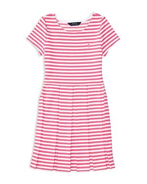 Ralph Lauren Childrenswear Girls' Striped Pleated Ponte Knit Dress - Big Kid