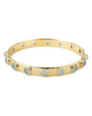 MARGARET ELIZABETH Stone Bangle in Aqua/Gold