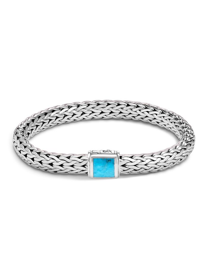 JOHN HARDY - Sterling Silver Classic Chain Medium Bracelet with Turquoise