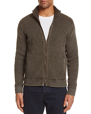 The Men's Store at Bloomingdale's Ribbed Cotton Zip Cardigan Sweater - 100% Exclusive