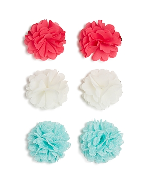 Capelli Chiffon & Mesh Flower Hair Clips - Set of 6