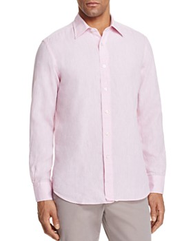 Canali - Solid Linen Regular Fit Button-Down Shirt
