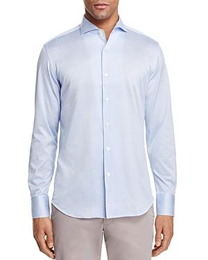 Canali Stripe Textured Knit Regular Fit Button-Down Shirt