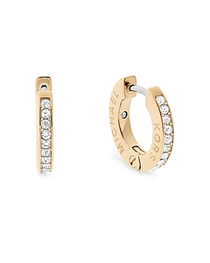 michael kors female michael kors pave logo huggie earrings