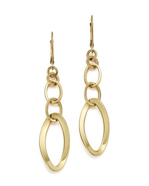 14K Yellow Gold Triple Oval Link Earrings - 100% Exclusive