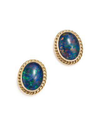 Garnet Oval Bezel Stud Earrings in 14K Yellow Gold - 100% Exclusive