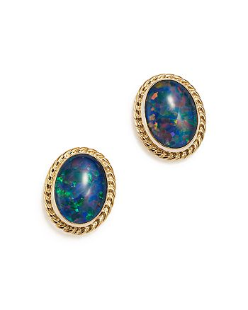 Bloomingdale's - Opal Triplet Bezel Stud Earrings in 14K Yellow Gold - 100% Exclusive