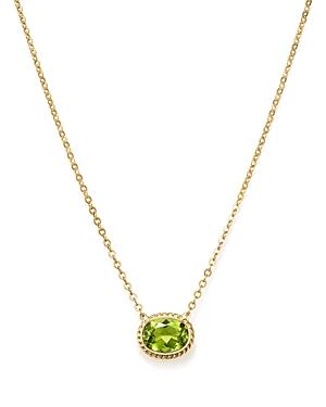 Peridot Bezel Pendant Necklace in 14K Yellow Gold