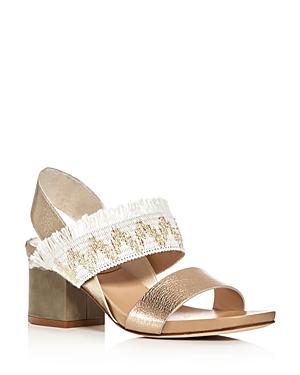 Aska Sarah Metallic Raffia Slingback Sandals