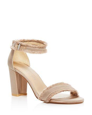 Stuart Weitzman - Women's Frayed Satin Ankle Strap High-Heel Sandals