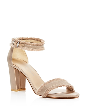 Stuart Weitzman Frayed Satin Ankle Strap High Heel Sandals
