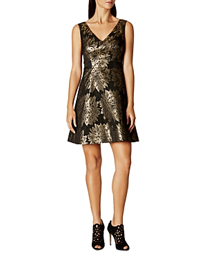 Karen Millen Metallic Floral Jacquard Dress