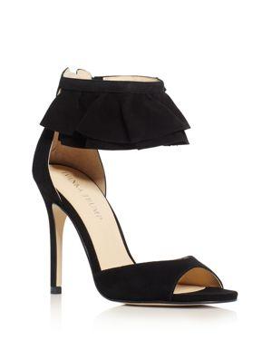 Ivanka Trump Herlle Ruffle Ankle Strap High Heel Sandals