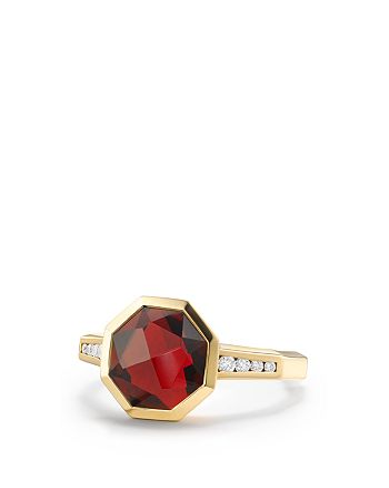 David Yurman - Guilin Octagon Ring with Garnet and Diamonds in 18K Yellow Gold