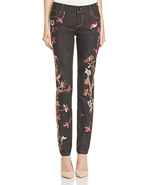 Alice + Olivia Jane Embroidered Straight Jeans