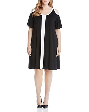Karen Kane Plus Color Block Cold Shoulder Dress