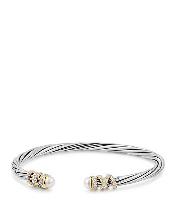 David Yurman - Helena End Station Bracelet with Cultured Freshwater Pearls, Diamonds and 18K Gold