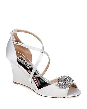 Badgley Mischka Tacey Embellished Crisscross Wedge Sandals