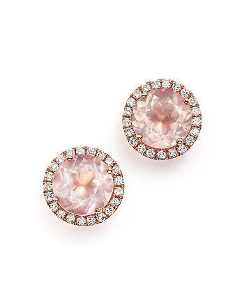 Dana Rebecca Designs - 14K Rose Gold, Diamond, and Pink Quartz Anna Beth Earrings
