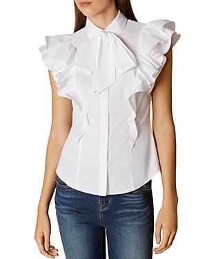 Karen Millen Ruffle Tie-Neck Shirt