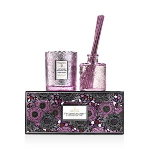 Voluspa Japanese Plum Bloom Scalloped-Edge Candle and Diffuser Gift Set