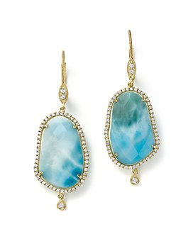Meira T - 14K Yellow Gold Larimar Drop Earrings with Diamonds