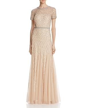 Adrianna Papell Gown - Short Sleeve Embellished