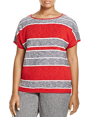 Marina Rinaldi Adesso Short Sleeve Striped Sweater