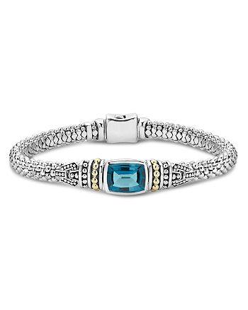 LAGOS - 18K Gold and Sterling Silver Caviar Color Bezel Bracelet with London Blue Topaz