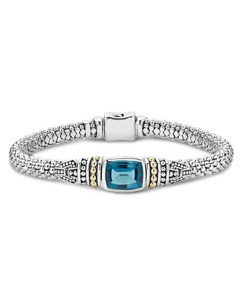 LAGOS - 18K Gold and Sterling Silver Caviar Color Bezel Bracelet with London Blue Topaz