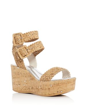 Donald J Pliner Cyndi Cork Ankle Strap Platform Wedge Sandals
