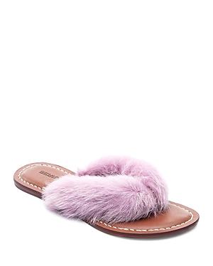 Bernardo Miami Rabbit Fur Thong Sandals