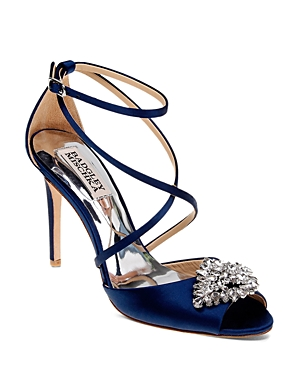 Badgley Mischka Tatum Embellished Crisscross High Heel Sandals