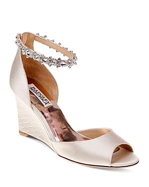 Badgley Mischka Tahlia Embellished Ankle Strap Wedge Sandals