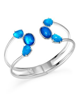 Ippolita Sterling Silver Rock Candy Wonderland Mixed Doublet Open Wire Hinged Bangle in Island