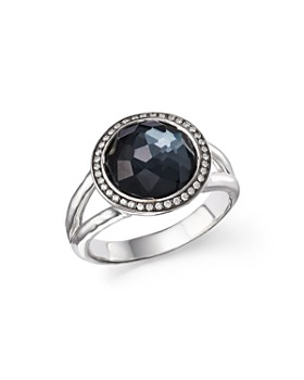 IPPOLITA - Stella Ring in Hematite Doublet with Diamonds in Sterling Silver