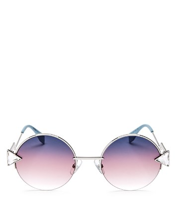 $Fendi Embellished Round Sunglasses, 50mm - Bloomingdale's
