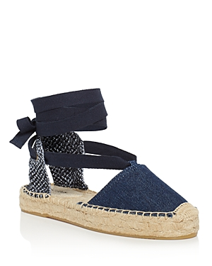 Soludos Women's Denim Gladiator Lace Up Espadrille Platform Sandals