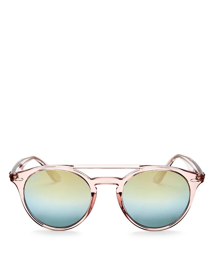 Ray-Ban - Unisex Mirrored Brow Bar Round Sunglasses, 51mm
