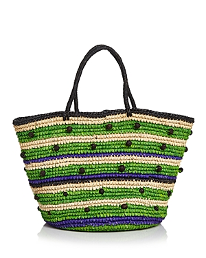 Sensi Studio Stripes and Pepitas Maxi Straw Tote