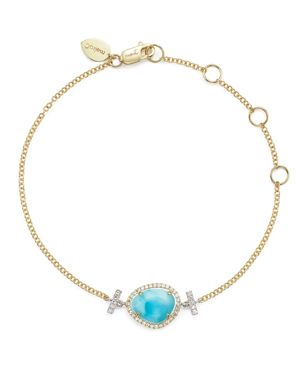 Meira T 14K White and Yellow Gold Larimar and Diamond Bracelet