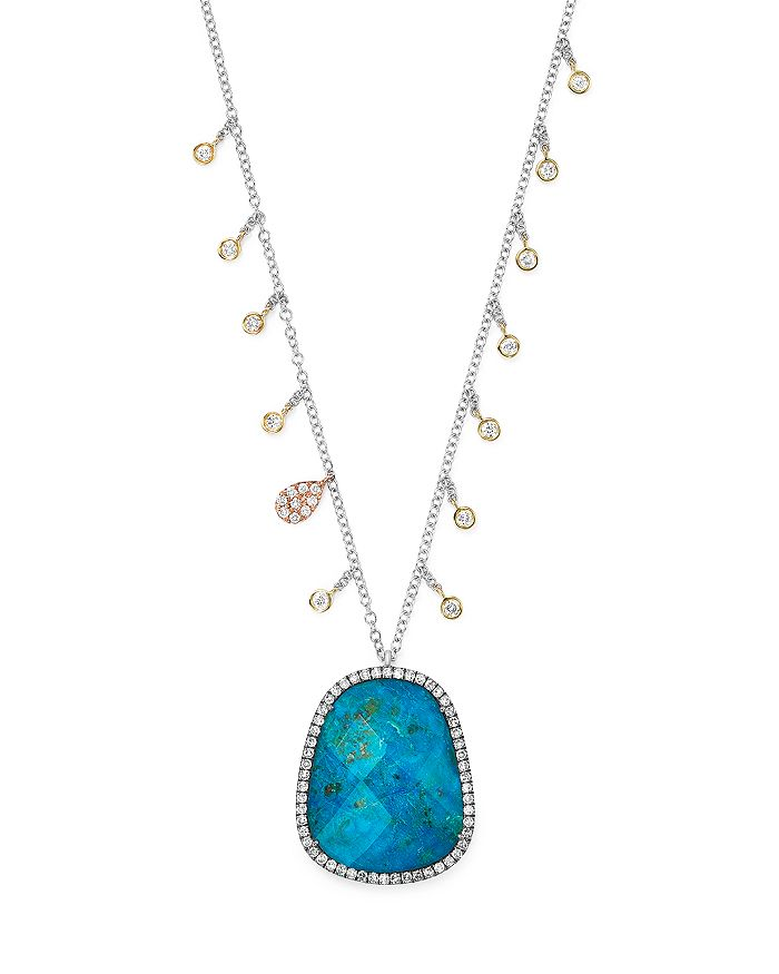 """Meira T - 14K Yellow and White Gold Chrysocolla Doublet Necklace with Diamond Charms, 20"""""""